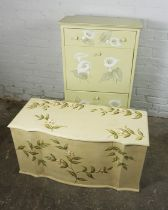 Childs Painted Utility Chest, 101cm high, 61cm wide, 32cm deep, With a similar Ottoman, (2)
