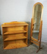 Pine Open Bookcase, 84cm high, 90cm wide, 26cm deep, With a Pine framed Cheval Mirror, (2)