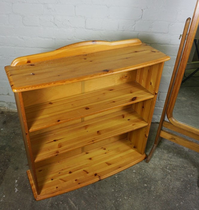 Pine Open Bookcase, 84cm high, 90cm wide, 26cm deep, With a Pine framed Cheval Mirror, (2) - Image 2 of 5