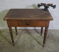 Victorian Pine Work Table, Having a later fixed Stanley vice to the top, 76cm high, 86cm wide,