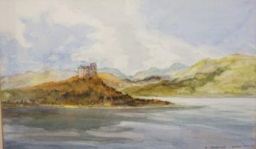 """N.Hampton """"Duart Castle"""" Watercolour, Signed, 26.5cm x 44.5cm"""