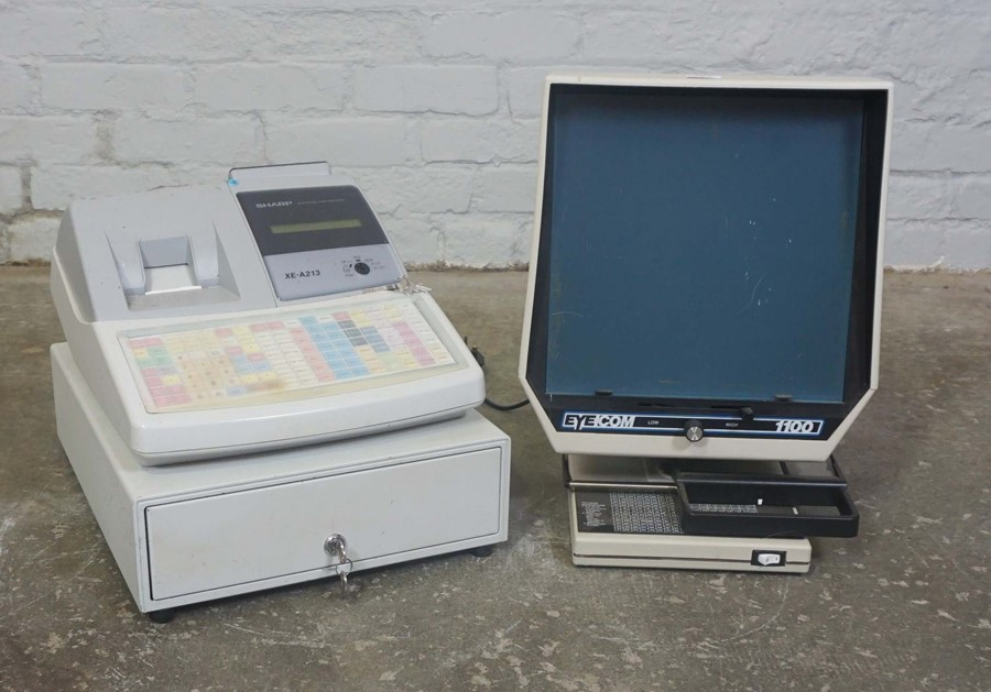 Electronic Cash Register by Sharpe, With an Eyecom Monitor, (2)Condition reportNot tested, Sold as