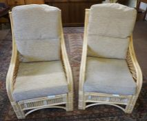 Pair of Bamboo style Conservatory Armchairs, 99cm high, (2)