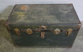 Vintage Travel Trunk, 48cm high, 92cm wide, 52cm deep, With a Pine Box, (2)