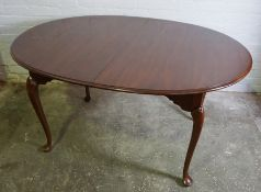 Modern Mahogany Pad Foot Dining Table, with three additional leaves, Fully extended 76cm high, 236cm