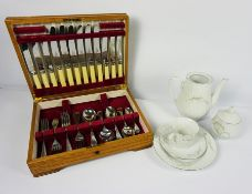 Quantity of Blue Diamond Dinner Wares, With an Oak Case of Cutlery (a lot)