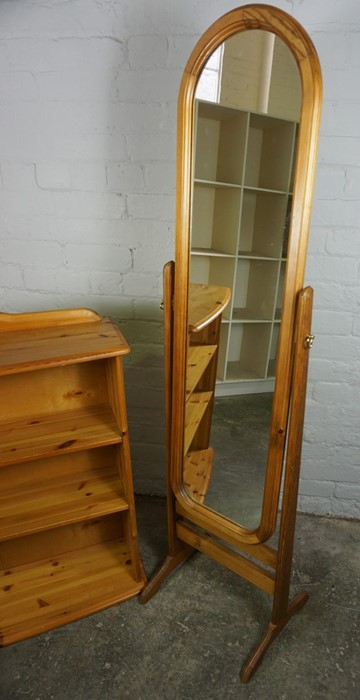 Pine Open Bookcase, 84cm high, 90cm wide, 26cm deep, With a Pine framed Cheval Mirror, (2) - Image 3 of 5