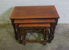 Oak Nest of Three Tables, 52cm high, 73cm wide