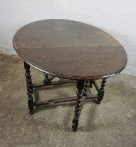 Oak Drop Leaf Table, 74cm high, 123cm long, 92cm wide