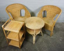 Assorted Modern Wicker Furniture, To include a Screen and a Magazine Rack, Screen 163cm high,