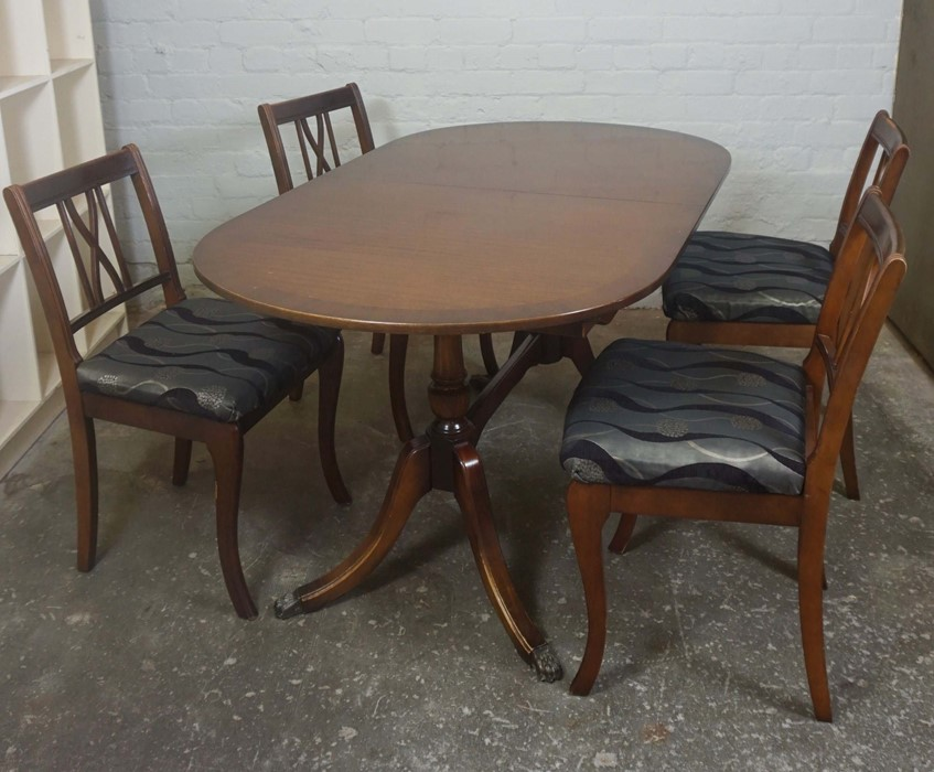 Reproduction Dining Table with Four Chairs, Dining Table 30cm high, 60cm long, 35cm wide, (5)