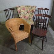 Rocking Chair, 97cm high, With four assorted Chairs, (5)