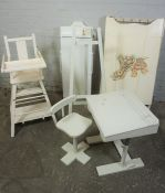 Mixed Lot of Painted White Furniture, To include a Childs Desk and Chair, Easel, Folding Cot,