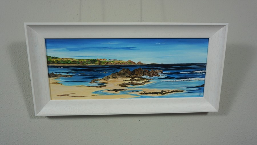 SOLD Anne White (Scottish, B.1960), Living on the Edge, St Abbs from Coldingham Bay, acrylic on - Image 3 of 10