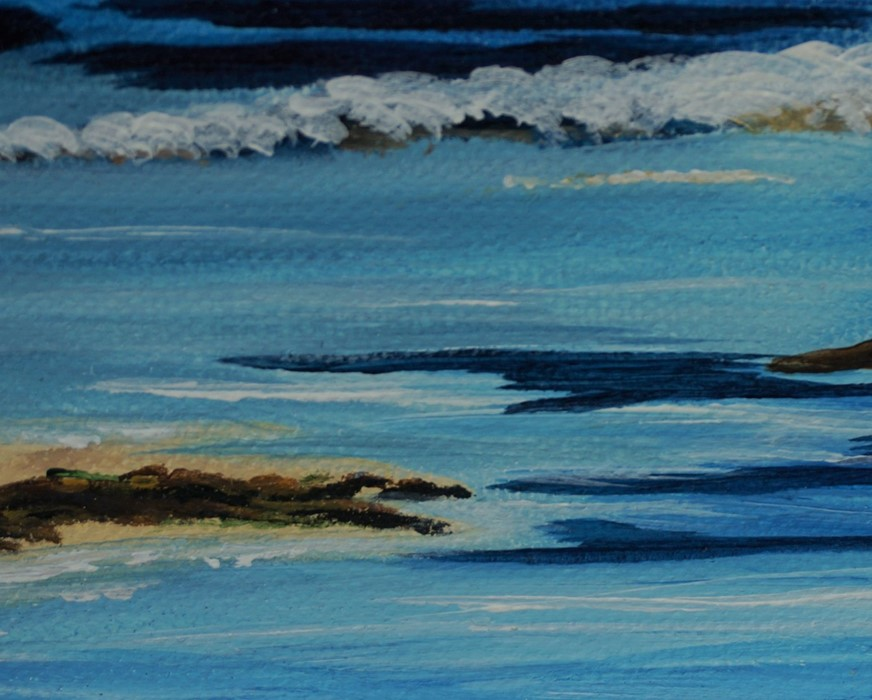 SOLD Anne White (Scottish, B.1960), Living on the Edge, St Abbs from Coldingham Bay, acrylic on - Image 6 of 10