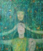 Julie Barnes (British, B.1970), The Channeling, oil on canvas, signed lower right, unframed 50cm x