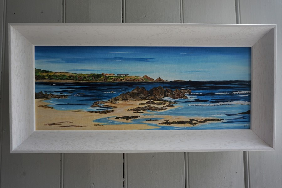 SOLD Anne White (Scottish, B.1960), Living on the Edge, St Abbs from Coldingham Bay, acrylic on - Image 4 of 10