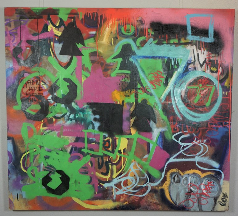 Robbie Mackintosh (Scottish, B.1980), The Games Men Play, spray paint on canvas, signed, titled - Image 3 of 19