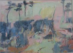 Lida Hatrick M.A.(Hons), M.Sc.(British, B.1948), Greenlaw Moor, oil on board, initials lower