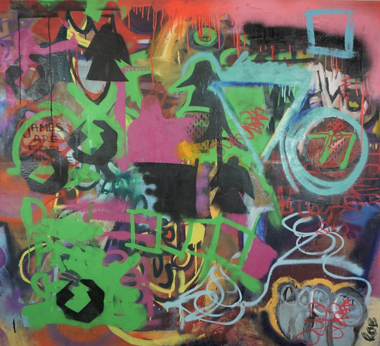 Robbie Mackintosh (Scottish, B.1980), The Games Men Play, spray paint on canvas, signed, titled - Image 2 of 19
