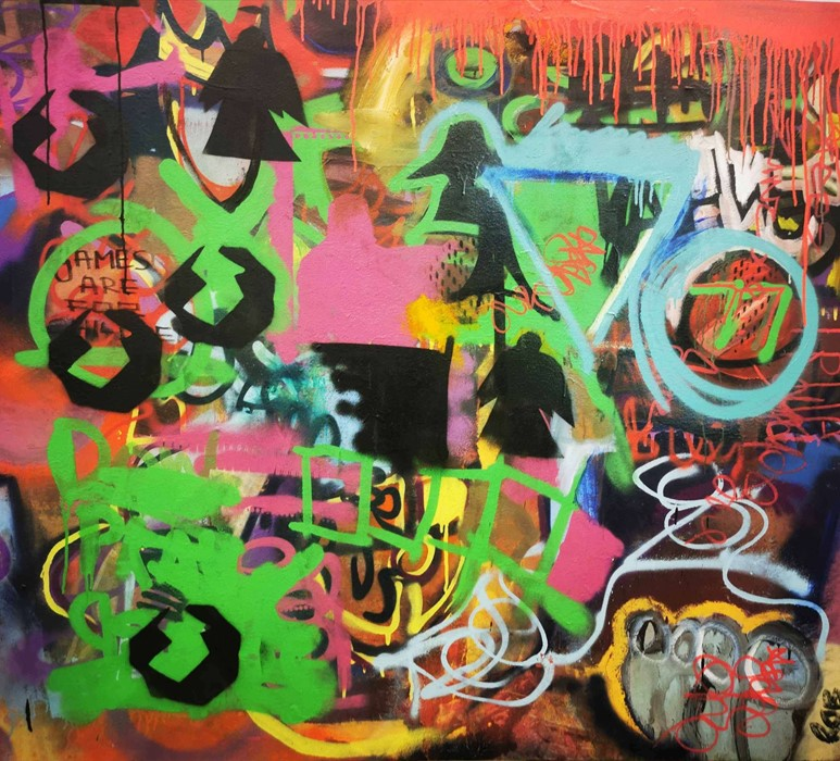 Robbie Mackintosh (Scottish, B.1980), The Games Men Play, spray paint on canvas, signed, titled