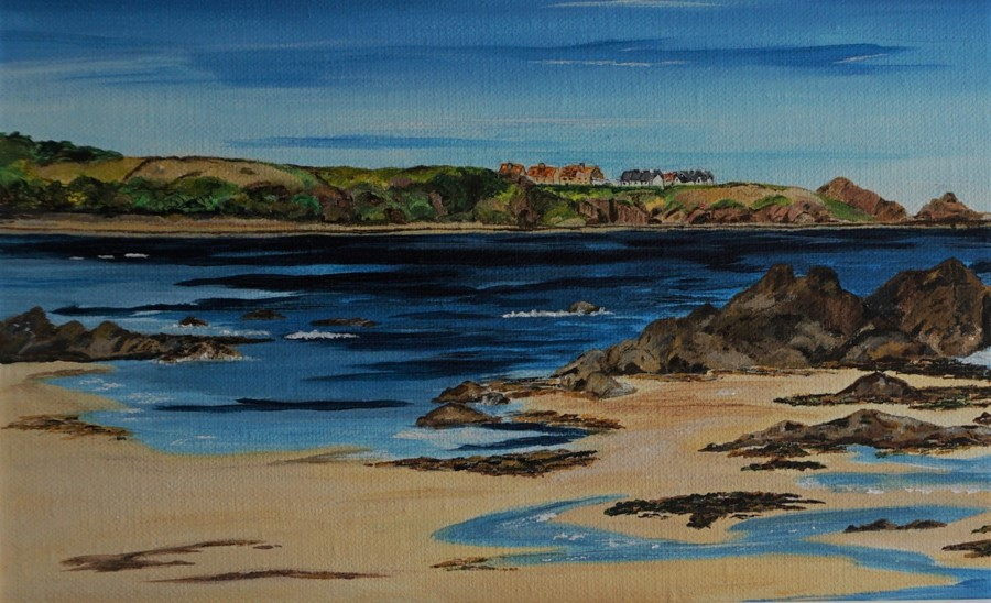 SOLD Anne White (Scottish, B.1960), Living on the Edge, St Abbs from Coldingham Bay, acrylic on - Image 8 of 10