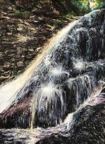 Fiona Carvell (British, B.1970), Cascade (Hareshaw Linn), pastel on board, signed lower right,