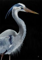 Bell Villasante (Spanish, B.1999), Hope is the thing with feathers (The Great Blue Heron), acrylic
