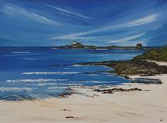 Anne White (Scottish, B.1960), A Beautiful Calm Day, Fidra from Archerfield, East Lothian, acrylic