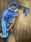 Bell Villasante (Spanish, B.1999), King's Catch (Kingfisher), acrylic on canvas, initials lower