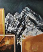 Yelena Visemirska (Latvian, B.1984), Mountain in the City II, oil and acrylic on canvas, signed,