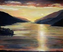 Anne White (Scottish, B.1960), Sunset Over Loch Shiel, oil on board, initials lower right, artist
