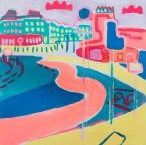 Cassandra Harrison (American, B.1977), Haymarket, acrylic, oil pastel and pencil on canvas, signed