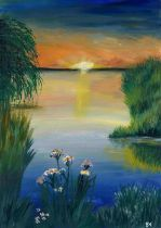 Bell Villasante (Spanish, B.1999), Sunset upon a Lake, acrylic on board, framed 49cm x 59cm (