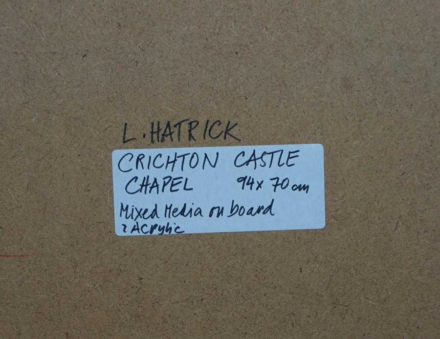 Lida Hatrick M.A.(Hons) M.Sc.(British, B.1948), Crichton Castle Chapel, acrylic on board, initials - Image 9 of 9