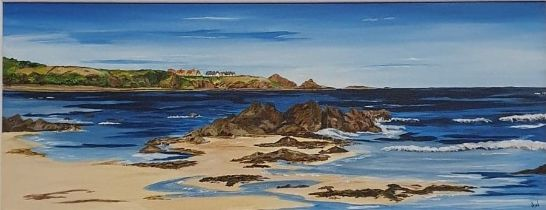 SOLD Anne White (Scottish, B.1960), Living on the Edge, St Abbs from Coldingham Bay, acrylic on