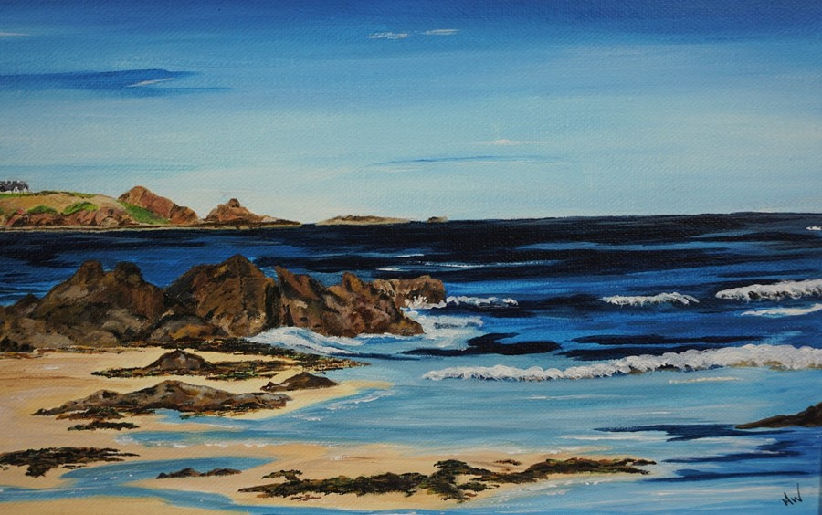 SOLD Anne White (Scottish, B.1960), Living on the Edge, St Abbs from Coldingham Bay, acrylic on - Image 7 of 10