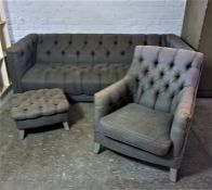 Chesterfield Three Piece Lounge Suite, Comprising of a large Sofa with matching Armchair and
