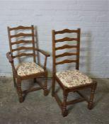 Set of Six Ladder Back Chairs, 105cm high (6)