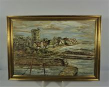 """May Hutchison (Scottish 20th century) """"Scottish Town and Beach Scene"""" Oil on Canvas, Signed, 50cm"""