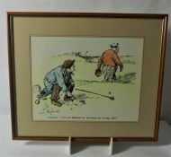 """Golfing Print, Caddie """"Ave yer Finished wi the Links for Today Sir"""" 35cm x 45cm"""
