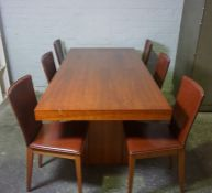 Contemporary Danish Dining Room Suite, Comprising of a Polished Dining Table, Set of Six Brown