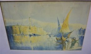"""F.Richardson """"Continental Scene with Boats"""" Watercolour, Signed, 21cm x 33cm"""