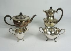 A Late Victorian Silver Plate Four Piece Tea Service, Of semi ovoid form with gadrooned borders on