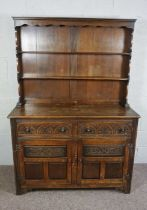 Vintage China Chest with Four Drawers and Side Cupboards, An Oak Dresser, In 17th Century Style,