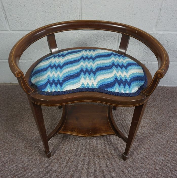Mahogany Window Seat with Blue and White Cushion, Circa 18th Century with reupholstered cushion pad - Image 3 of 4