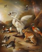 """Edward Hassell McCosh,""""Game Birds with Hare"""",Oil on Canvas,Signed lower left,151cm x 121cm"""
