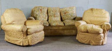 Vintage Three Piece Lounge Suite, Sofa 73cm high, 184cm wide (3)