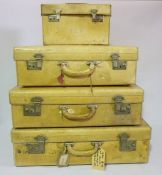 4 Vintage Luggage Trunks Initialled S.A.W, Lemon coloured leather trunks with peach silk lining.