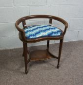 Mahogany Window Seat with Blue and White Cushion, Circa 18th Century with reupholstered cushion pad